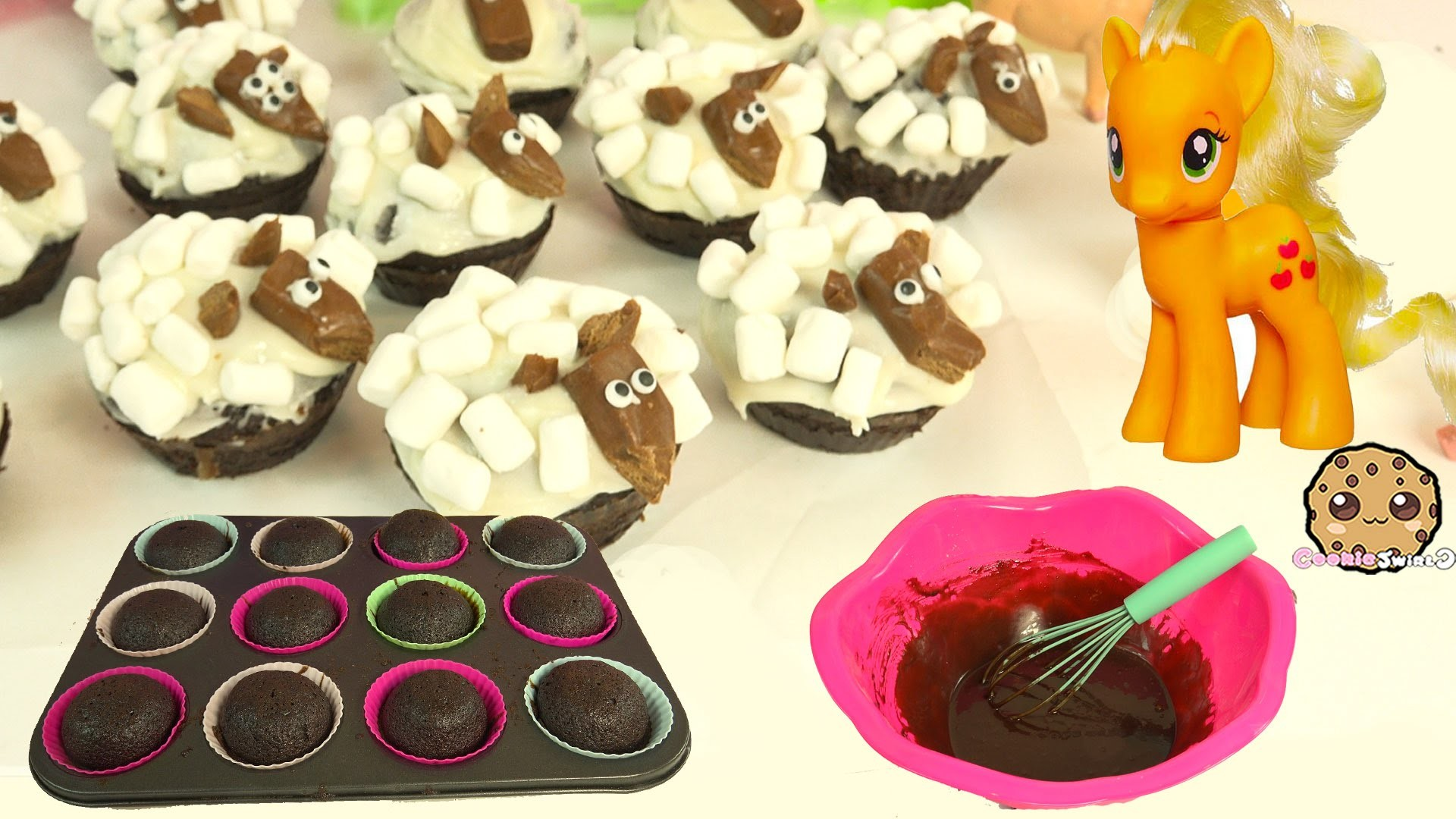 Baking Chocolate & Marshmallow Lambs Cupcakes For My Little Pony AppleJack - Cookieswirlc