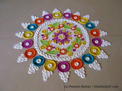 Beautiful and innovative multicolored  rangoli | Creative rangoli designs by Poonam Borkar
