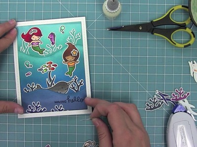 Create a Scene: Mermaid Shaker Card using Lawn Fawn Stamps and Dies