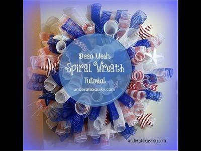 Deco Mesh Spiral Wreath Tutorial