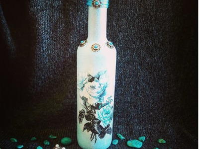 Decoupage bottle with rice paper and turquoise DIY ideas decorations craft tutorial