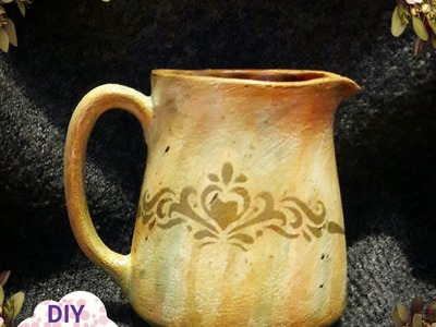 Decoupage shabby chic antique pitcher DIY vintage ideas decorations craft tutorial