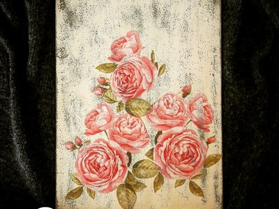 Decoupage shabby chic wooden wall decoration DIY ideas craft tutorial