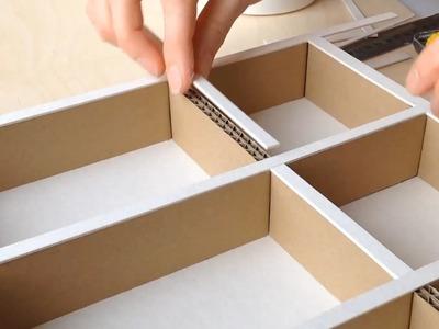 DIY How to make a cardboard drawer organizer