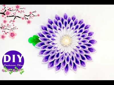 DIY.Kanzashi flower tutorial.Satin ribbon flower.Kanzashi Flower on the Clip