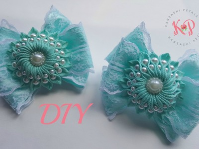 DIY Small ribbon flower with pearls on a bow