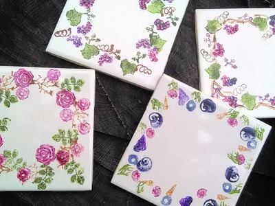 DIY Stamped Coasters. Quick Gift Idea!