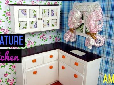 Dollhouse Miniature Kitchen Room #1 | Cách làm tủ bếp | Ami DIY