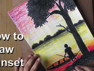 How to Draw A Sunset Scenery with Oil Pastel