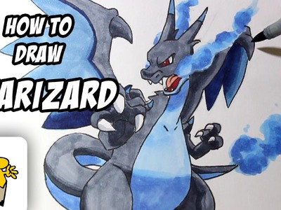How to draw Mega Charizard X [Pokemon X.Y] drawing tutorial