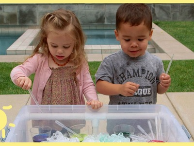 PLAY | Sensory Table Pouring Station & Coloring Ice