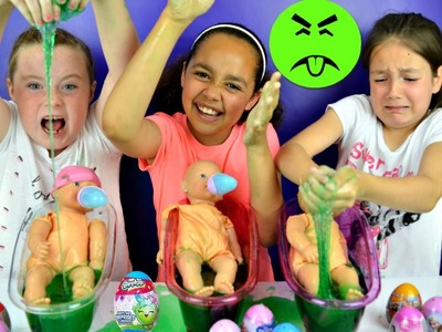 SLIME BAFF! Super Gross Baby Born Bath Time Toy Challenge - Surprise Eggs Prizes
