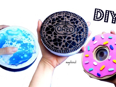 3 DIY Lava lamp, Oreo, Donut COIN PURSES - Recycle CDs DVDs