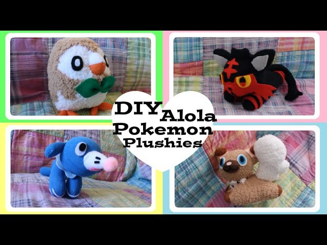 ❤ DIY Alola Pokemon Sock Plushies! How to make Rowlet, Litten, Popplio and Rockruff! ❤