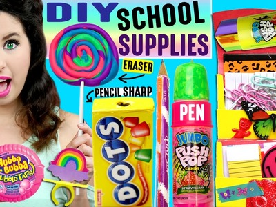 DIY Candy School Supplies | Push Pop Pen, Ring Pop Eraser, Hubba Bubba Tape, Skittles Push Pins!