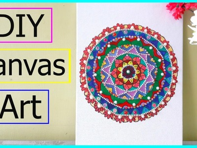 DIY Canvas Art | Ayushi Singh ( Easy Mandala using acrylic paint, stones etc)
