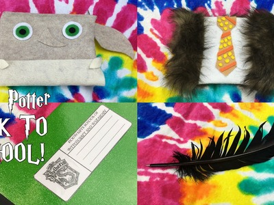 DIY Harry Potter BACK TO SCHOOL | 2 Pencil cases.bags (NO SEW) + Feather pen + Labels for notebooks