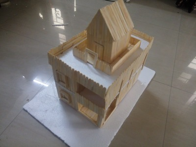 DIY: How to make a duplex house uisng Popsicle sticks. ice cream sticks