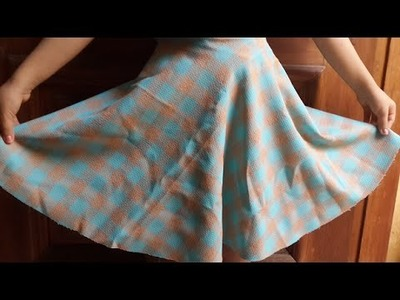 DIY  How to make girl circle skirt easily without zipper