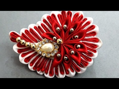DIY Kanzashi Hair Clip for Girls : How to Make Beautiful Beaded Wedding Hair Accessories