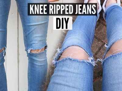 DIY Knee Ripped Jeans Tutorial - How To Style