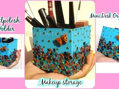 DIY Makeup storage | Brush Holder | mini desk organizer