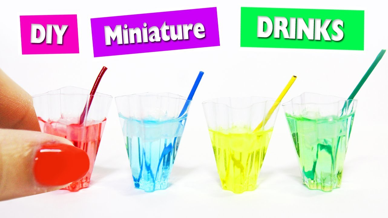 DIY | Mini Drinks with Liquid + Ice - Easy Doll House Crafts