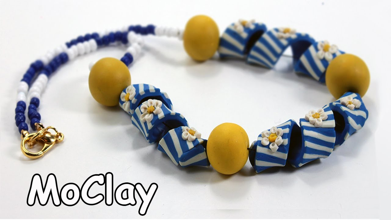 DIY necklace with twisted bead -Polymer clay tutorial