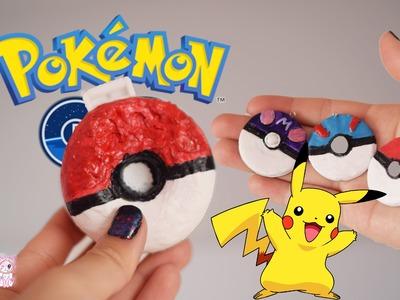 DIY POKEBALL SQUISHY! Pokemon go inspired, and polymer clay pokeball tutorial