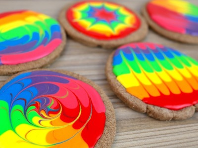DIY Rainbow Chocolate Orange Cookies | Feather and Fan Technique | CarlyToffle