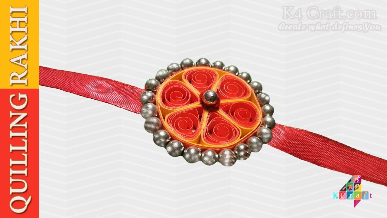 """DIY: Rakhi Making - Paper Quilling """"Orange"""" Rakhi video - Raksha Bandhan"""