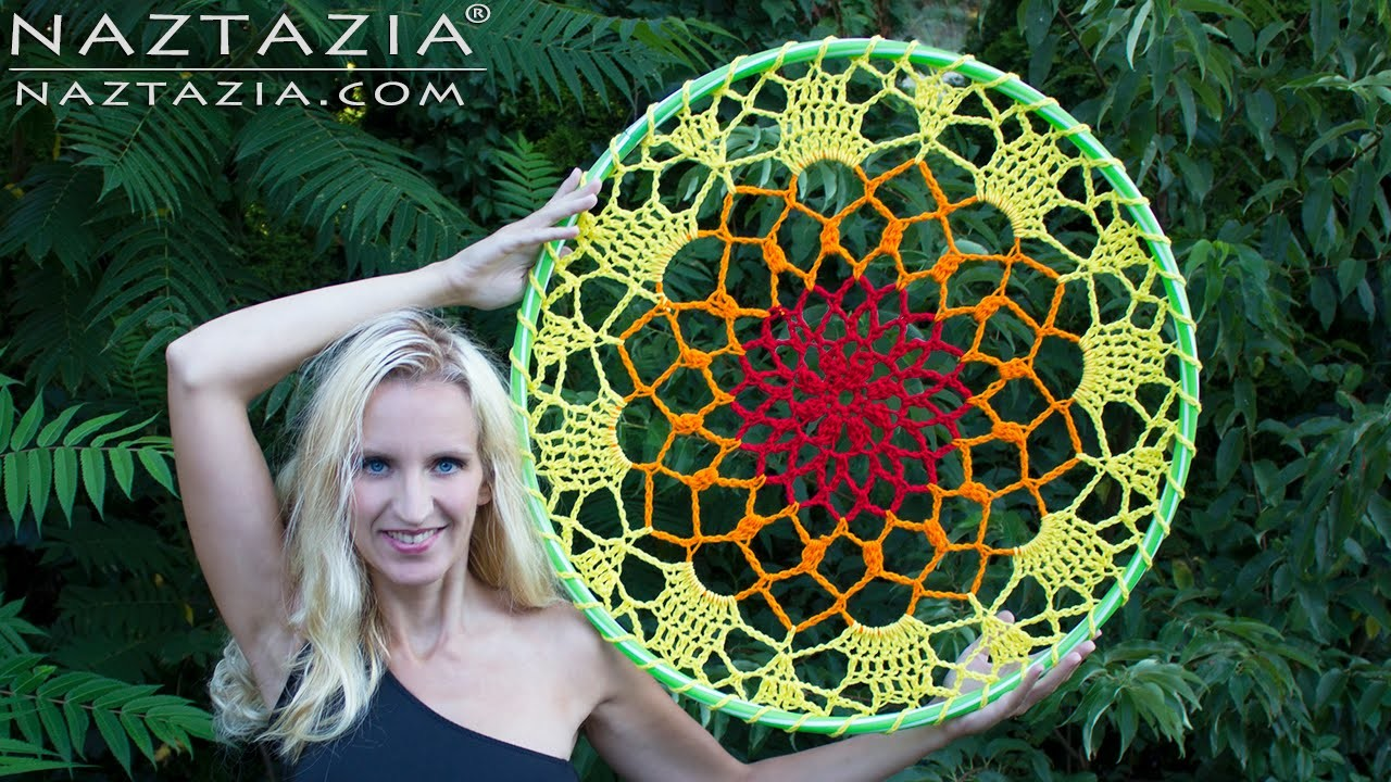 DIY Tutorial - How to Crochet Mandala Dreamcatcher - Sun Dream Catcher Hula Hoop Yarn Bomb Bombing