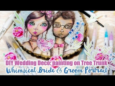 DIY Wedding Decoration: Painting a whimsical Portrait on Wood (Tree Trunk)
