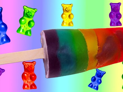 How to Make a Rainbow Jelly Popsicle w. Gummy Bears! Awesome DIY Jello Candy Treat!
