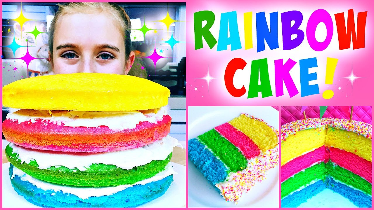 Super Easy DIY Rainbow Cake - So Easy Kid's Can Make It!