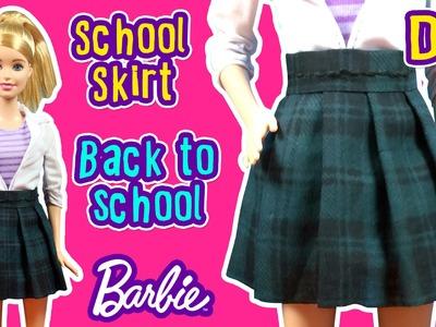 Back To School - How to Make Barbie Doll Uniform - School Skirt - DIY Barbie Clothes