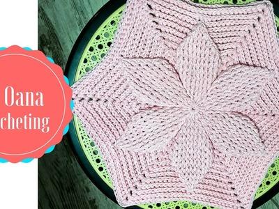 Crochet hexagon 3D motif with flower