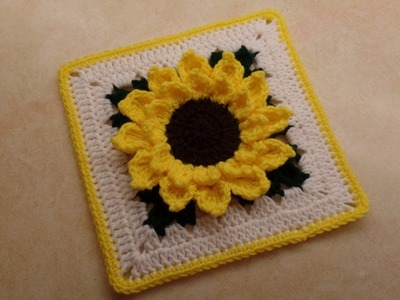 "CROCHET How To #Crochet #Sunflower Granny Square 10""   TUTORIAL #326"