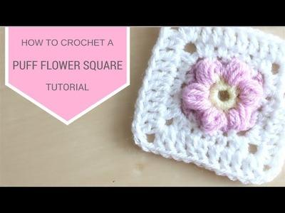 CROCHET: Puff flower square | Bella Coco