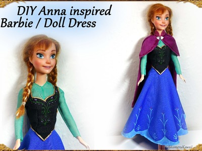 "DIY Barbie. Doll Anna ""Frozen"" inspired Dress - Tutorial"