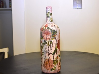 DIY Decoupage Roses.Crackle Wine Bottle Gift? (HD)