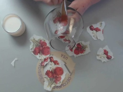DIY Decoupage with Rice Paper on  a Brandy Glass