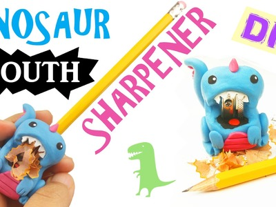 DIY DINOSAUR MOUTH PENCIL SHARPENER Polymer clay tutorial -  how to make weird easy school supplies