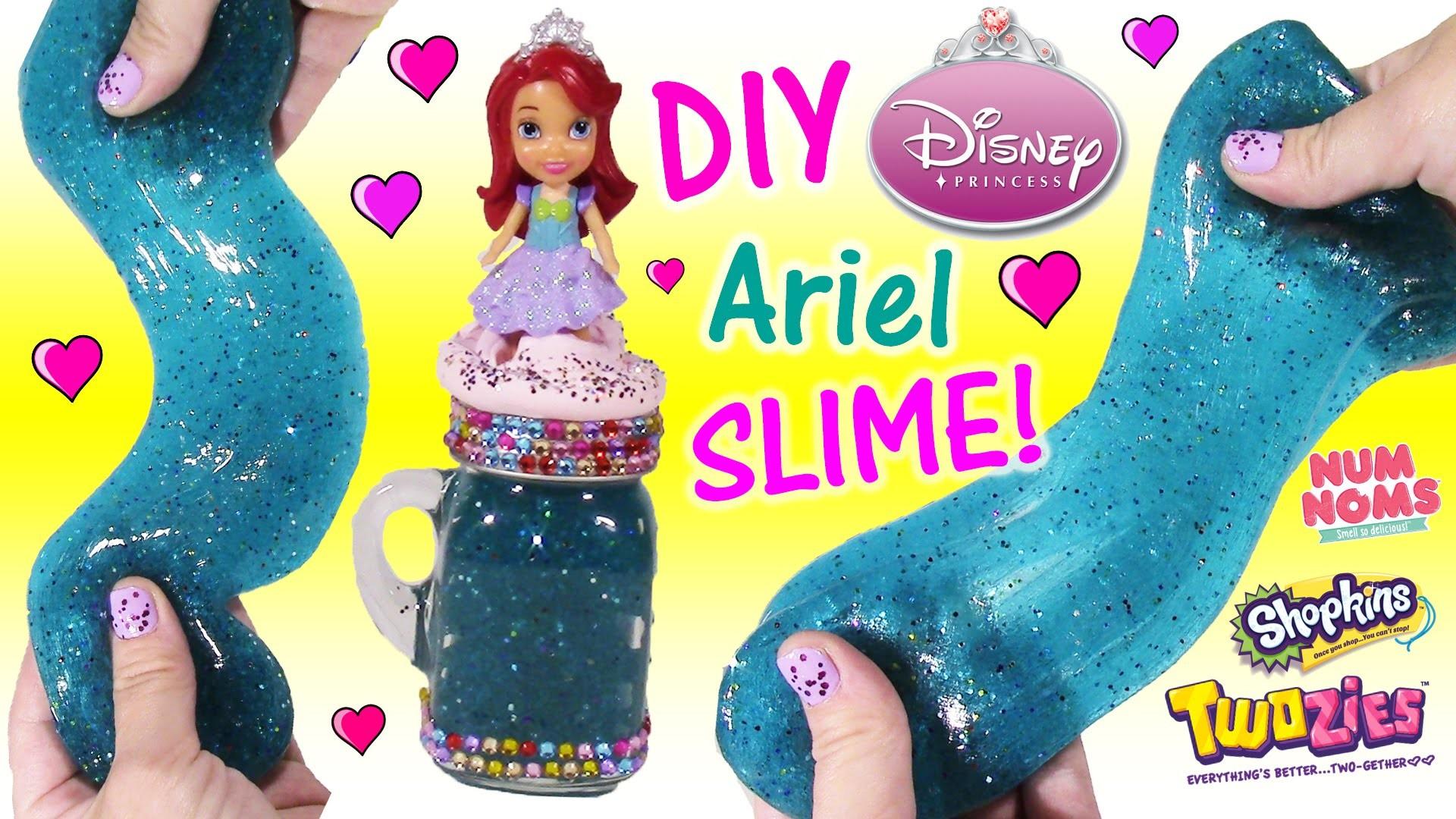 DIY Disney Princess ARIEL Glitter SLIME! Make Your Own Squishy Putty & Cute Jar! Happy Places! FUN