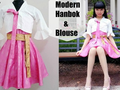 DIY Easy Modern Hanbok + Bell Shaped Blouse from Scratch with Pattern | Korean Fashion