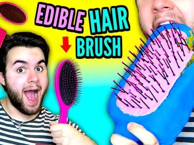DIY Edible Hairbrush!   EAT Your Brush!   Brush Your Hair With Food!