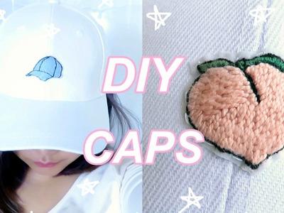 DIY Embroidered Baseball Caps   Peach Cap