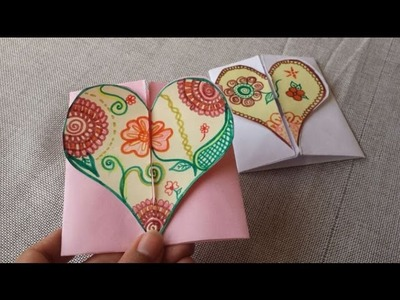 DIY-Envelope Paper heart card Gift || Make for Boyfriend.Girlfriend .