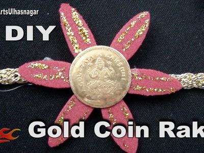 DIY Gold Coin Rakhi  for Raksha Bandhan   How to make    JK Arts 1041