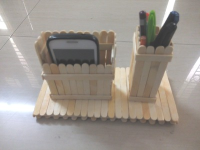 DIY: How to make mobile phone and pen stand using ice cream sticks.  popsicle sticks